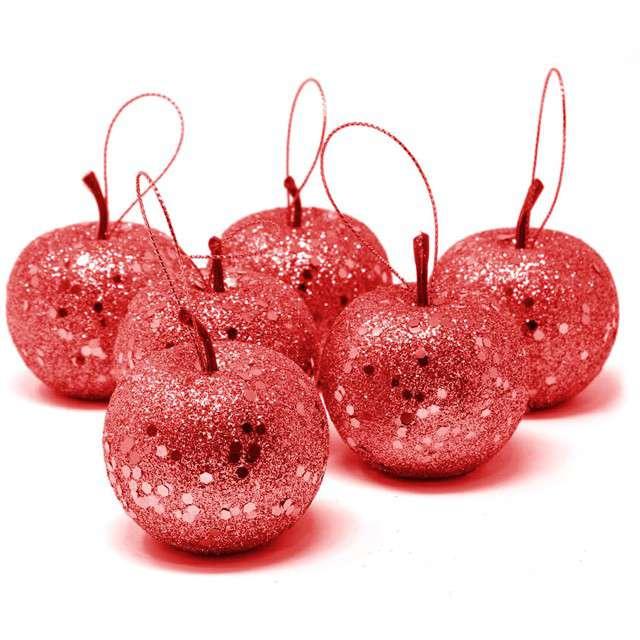 Bombki Brokatowe jabłuszka czerwone Guirca 6 szt.