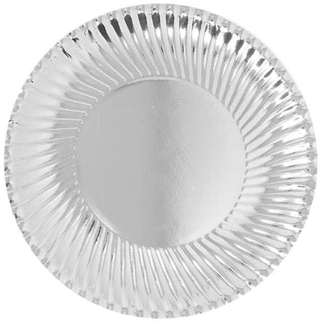 Talerzyki papierowe Metaliczne srebrne Guirca 24 cm