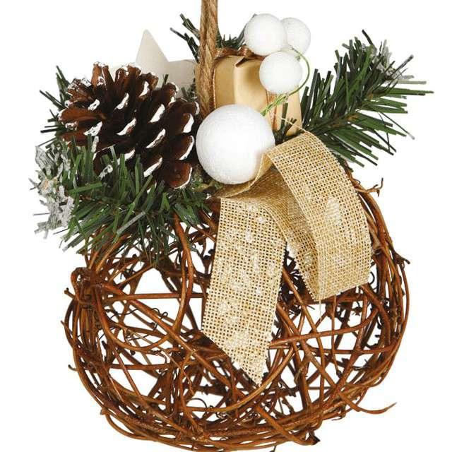 """Dekoracja """"Świąteczny stroik"""", wiklina, Guirca, 16 cm"""