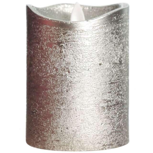 Świeca LED Deluxe srebrna Guirca 10 cm