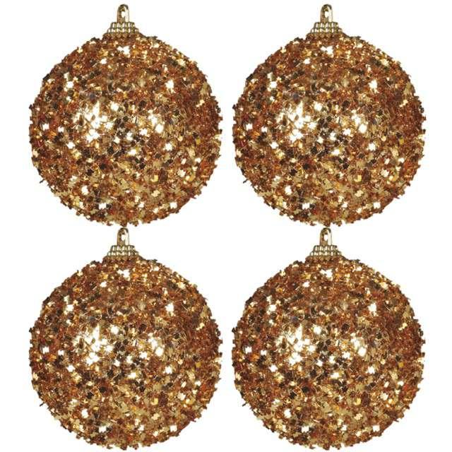 """Bombki """"Frost"""", plastikowe, złote, Guirca, 6 cm, 4 szt"""