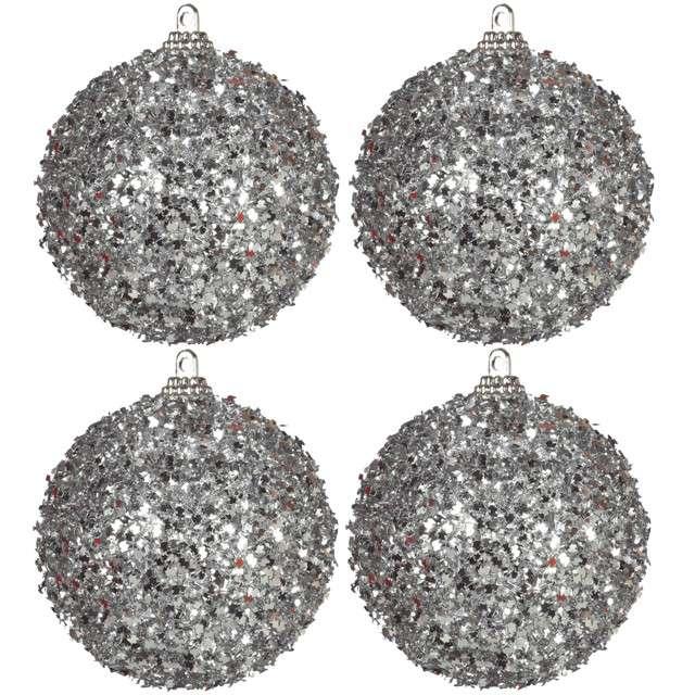 "Bombki ""Frost"", plastikowe, srebrne, Guirca, 6 cm, 4 szt"