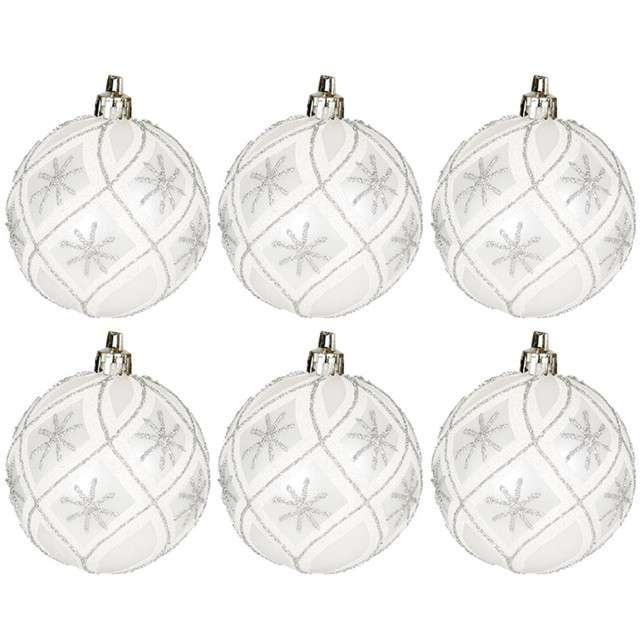 """Bombki """"Świąteczne gwiazdki"""", plastikowe, srebrno-białe, Guirca, 6 cm, 6 szt"""