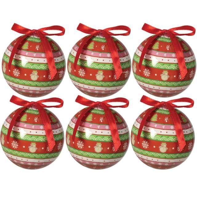 """Bombki """"Świąteczna kompozycja"""", akrylowe, Guirca, 6 cm, 6 szt"""