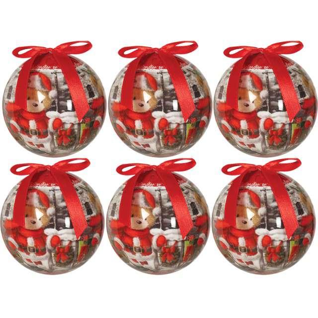 """Bombki """"Świąteczny pluszowy miś"""", akrylowe, Guirca, 6 cm, 6 szt"""