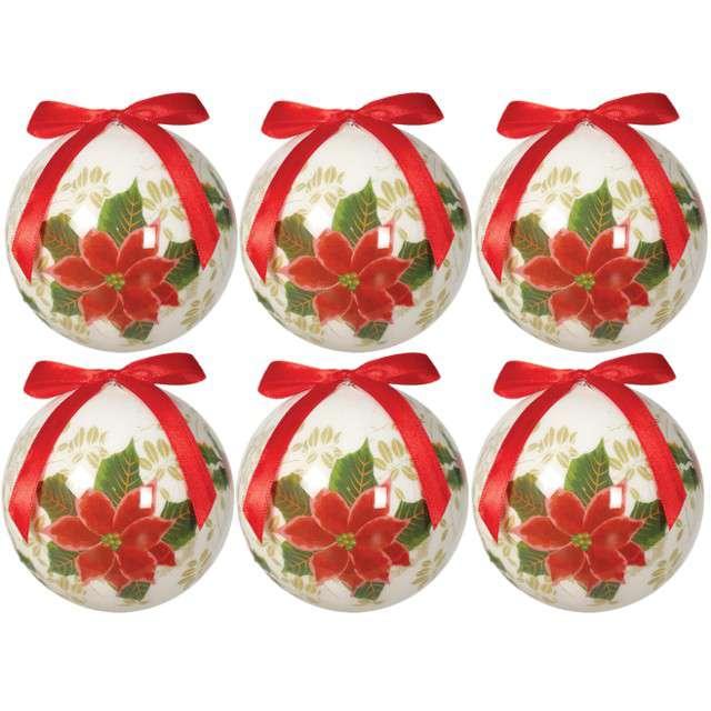 """Bombki """"Świąteczna Poinsecja"""", akrylowe, Guirca, 6 cm, 6 szt"""