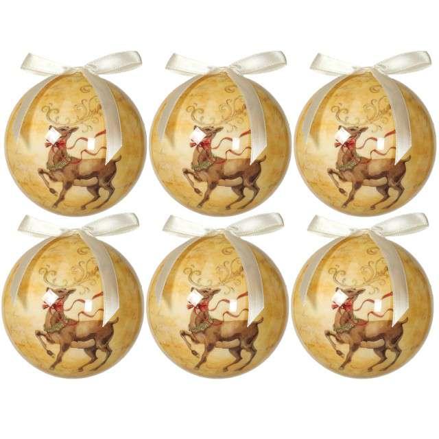 """Bombki """"Świąteczny Renifer"""", akrylowe, Guirca, 6 cm, 6 szt"""