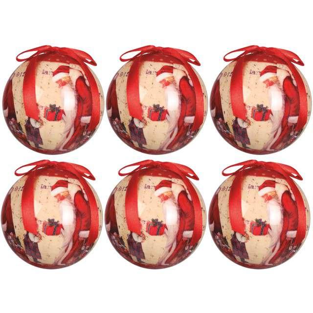 """Bombki """"Święty Mikołaj"""", akrylowe, Guirca, 6 cm, 6 szt"""