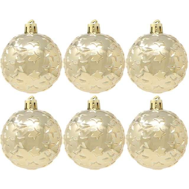 """Bombki """"Gwiazdki"""", plastikowe, złote, Guirca, 6 cm, 6 szt"""