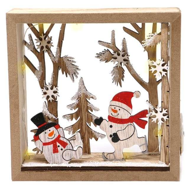 """Dekoracja """"Świąteczna ramka LED"""", drewno, Guirca, 16 cm"""