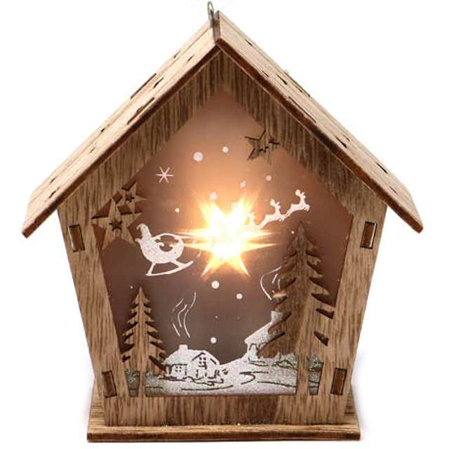 """Dekoracja """"Świąteczna szopka LED"""", drewno, Guirca, 11 cm"""