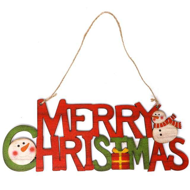 """Zawieszka drewniana """"Merry Christmas"""", czerwona, Guirca, 22 cm"""