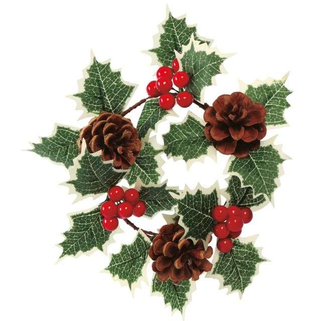 """Dekoracja """"Wieniec świąteczny - ostokrzew jasny"""" , Guirca, 15 cm"""