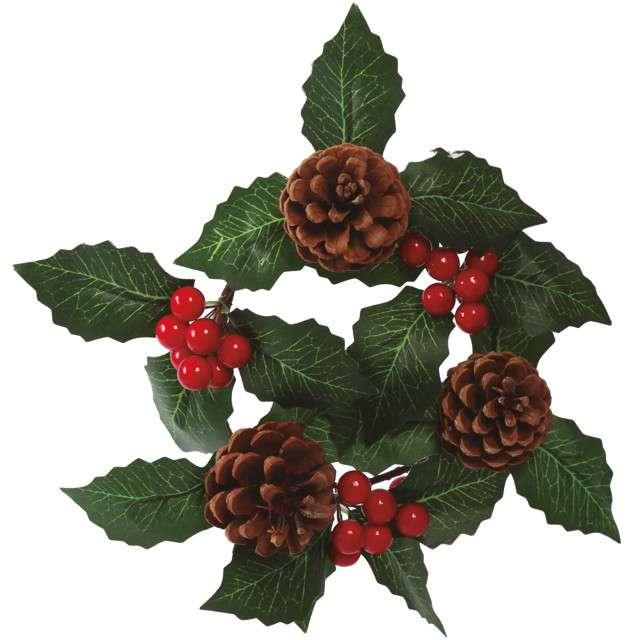 """Dekoracja """"Wieniec świąteczny - ostokrzew"""" , Guirca, 15 cm"""