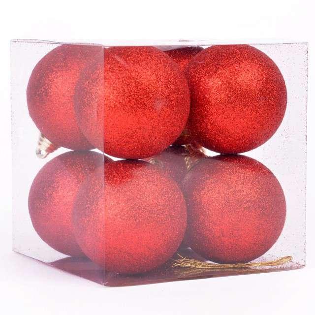 """Bombki """"Czerwony brokat"""", 6 cm, Arpex, 8 szt"""