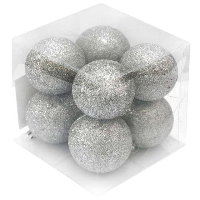 "Bombki ""Srebrny brokat"", 6 cm, Arpex, 8 szt"
