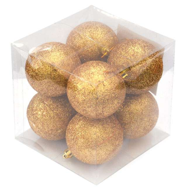 "Bombki ""Złoty brokat"", 6 cm, Arpex, 8 szt"