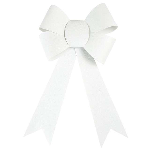 "Dekoracja ""Brokatowa kokarda"", biała, Arpex, 29 cm"