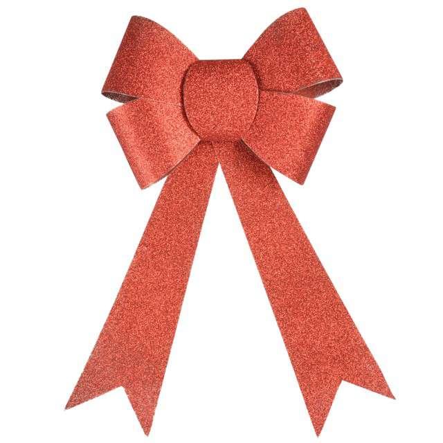 "Dekoracja ""Brokatowa kokarda"", czerwona, Arpex, 29 cm"