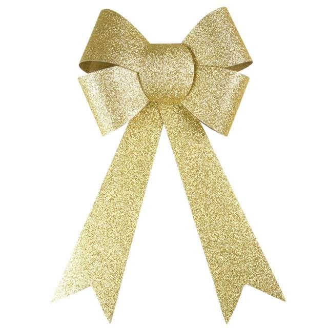 """Dekoracja """"Brokatowa kokarda"""", złota, Arpex, 29 cm"""
