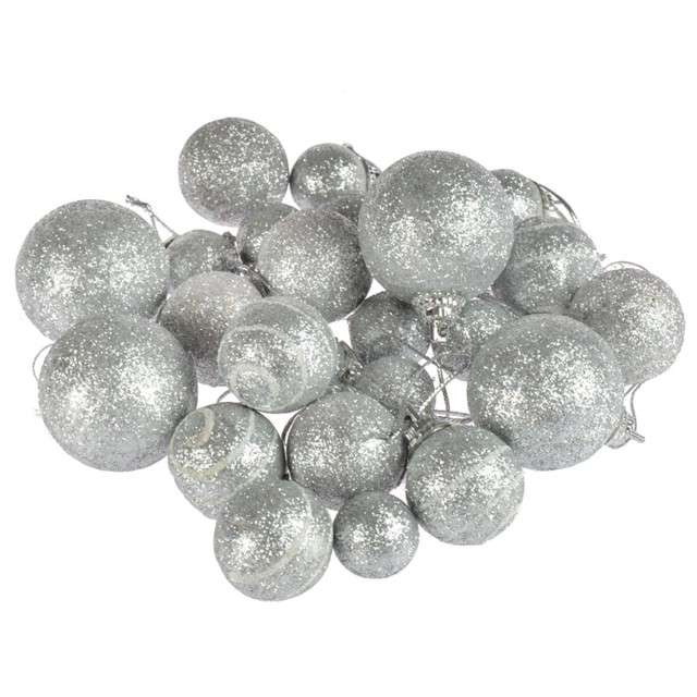 """Bombki """"Mini Mix"""", srebrny brokat, Arpex, komplet 20"""