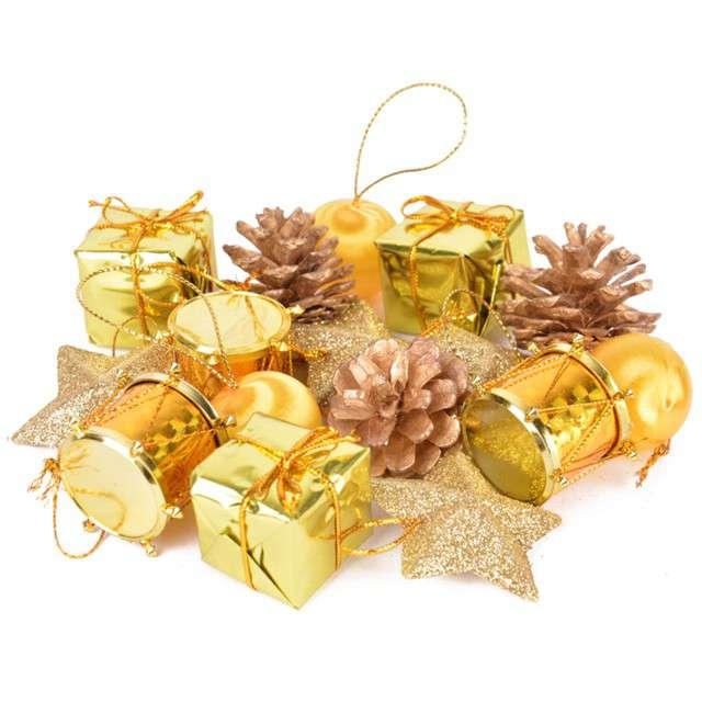 Zestaw ozdób choinkowych Świąteczny Mix 16 złoty  Arpex