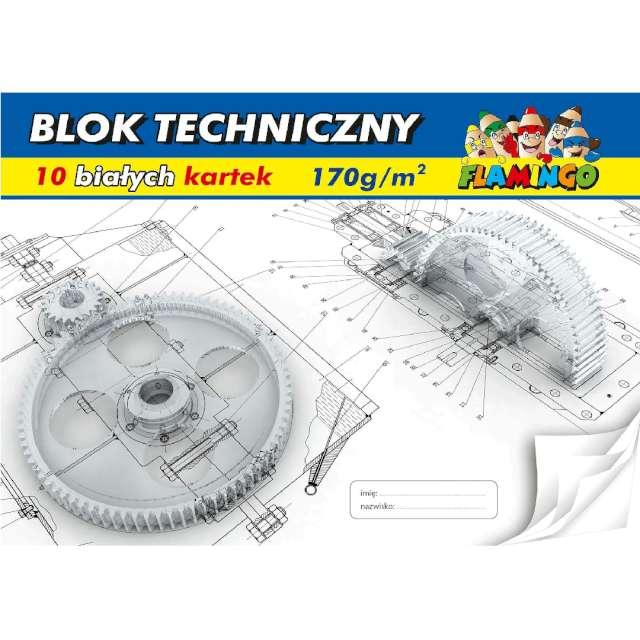 """Blok techniczny """"Classic A4"""", biały, Flamingo,10 kart."""