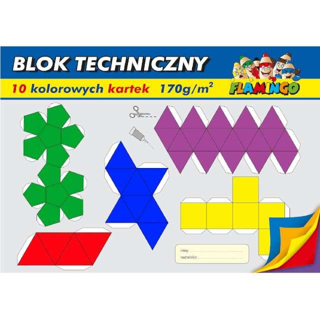 """Blok techniczny """"Classic A4"""", kolorowy, Flamingo,10 kart."""