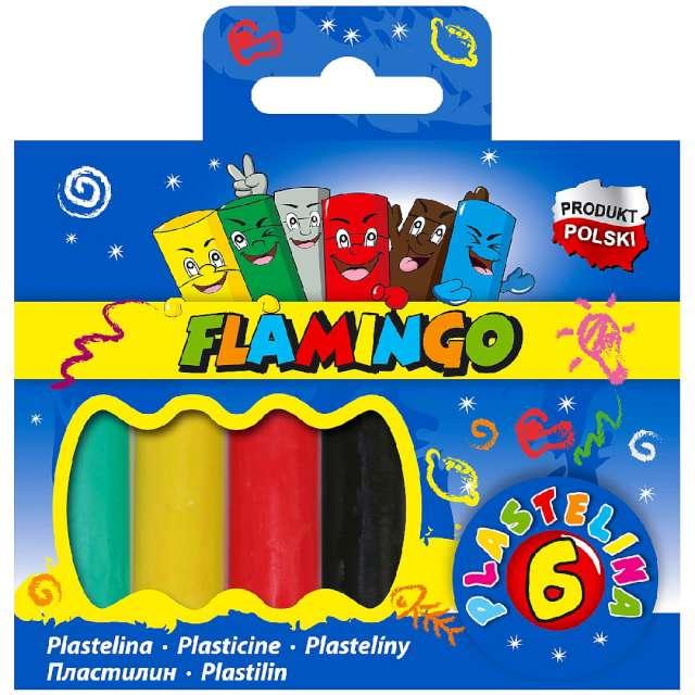 Plastelina Szkolna mix Flamingo 6 szt