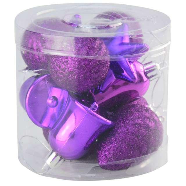 Zestaw bombek Świąteczny Mix 12 fioletowy Arpex