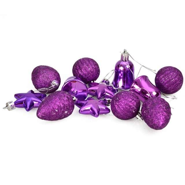 """Zestaw bombek """"Świąteczny Mix 12"""", fioletowy, Arpex"""