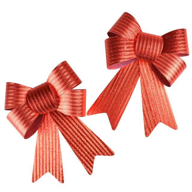 """Dekoracja """"Kokardy w prążki"""", czerwone, Arpex, 2 szt"""