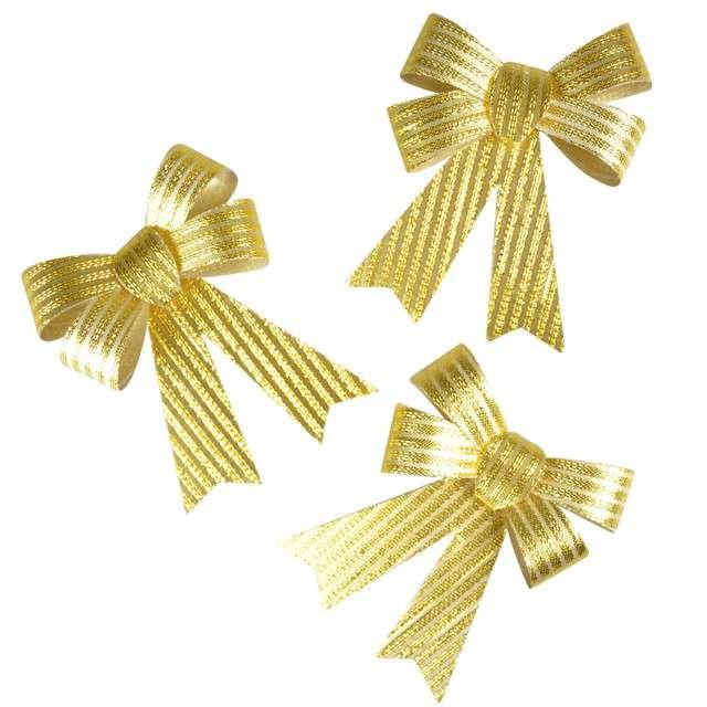 """Dekoracja """"Kokardy w prążki"""", złote, Arpex, 3 szt"""