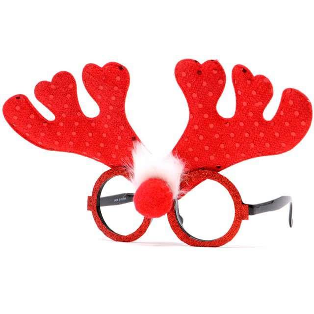 """Okulary party """"Renifer Rudolf"""", czerwone, Guirca"""