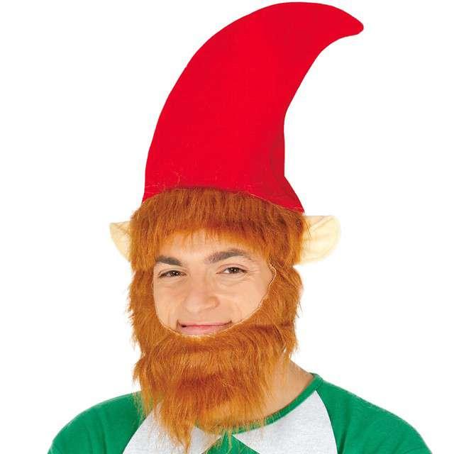 Czapka Rudy Elf z brodą. czerwona Guirca