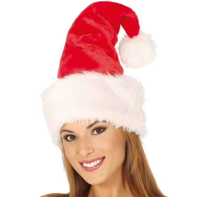Czapka Święty Mikołaj z futerkiem czerwona Guirca