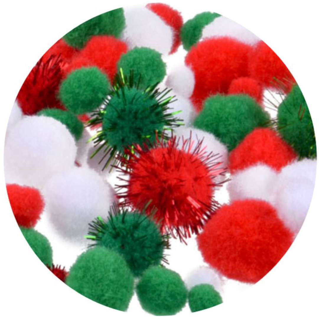 """Dekoracja """"Świąteczne pomponiki"""", mix, Arpex, 80 szt"""