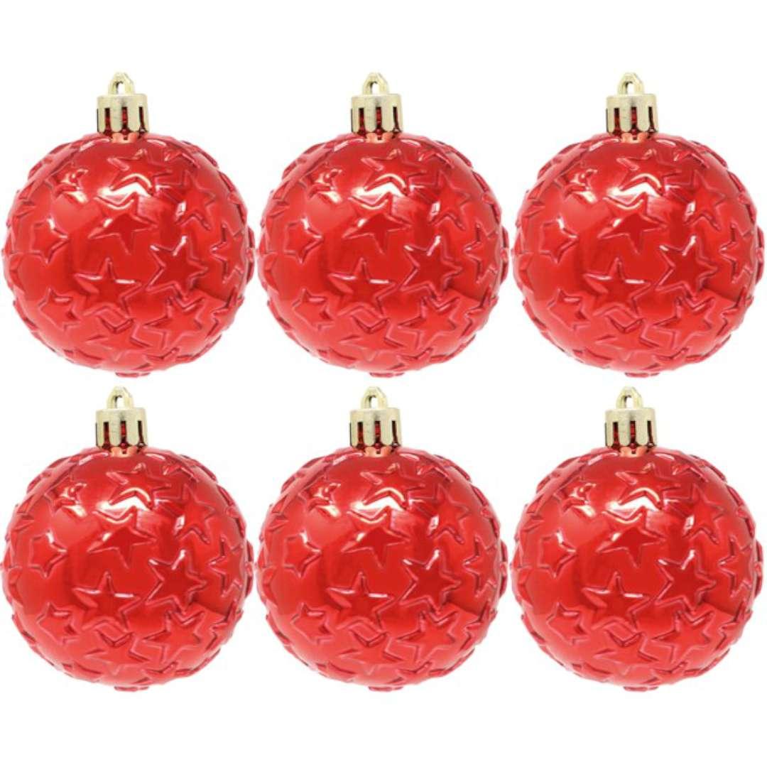 """Bombki """"Gwiazdki"""", plastikowe, czerwone, Guirca, 6 cm, 6 szt"""