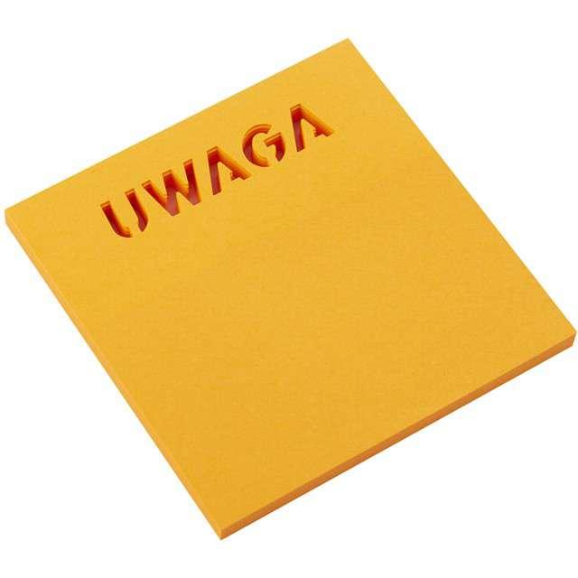 """Karteczki samoprzylepne """"Z wycięciem - UWAGA"""", D.RECT, 75 x 75 mm, 50 kartek"""