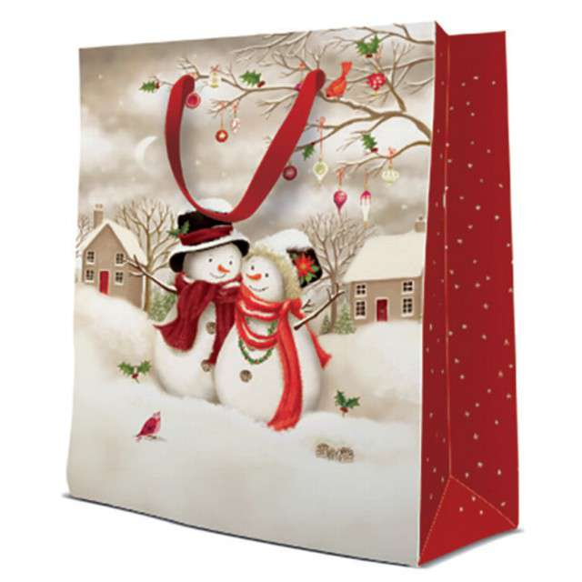 Torebka prezentowa Bałwanki biało-czerwona Paw 20x25 cm