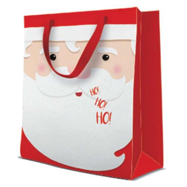 """Torebka prezentowa """"Święty Mikołaj"""", czerwona, Paw, 20x25 cm"""