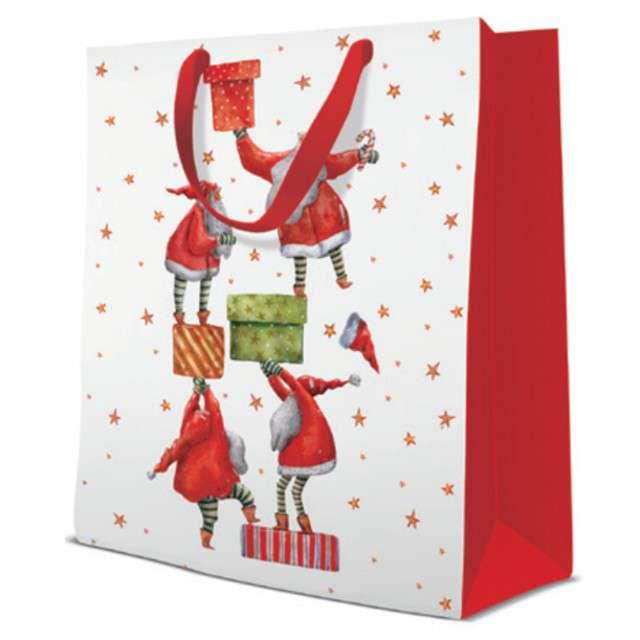 Torebka prezentowa Mikołaje z prezentami biało-czerwona Paw 26x33 cm