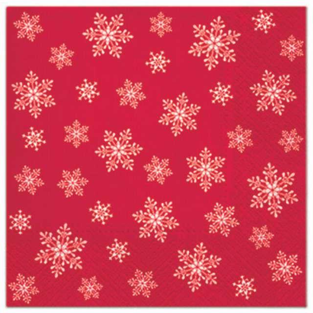 """Serwetki """"Klasyczne płatki śniegu"""", czerwone, PAW, 33 cm, 20 szt"""