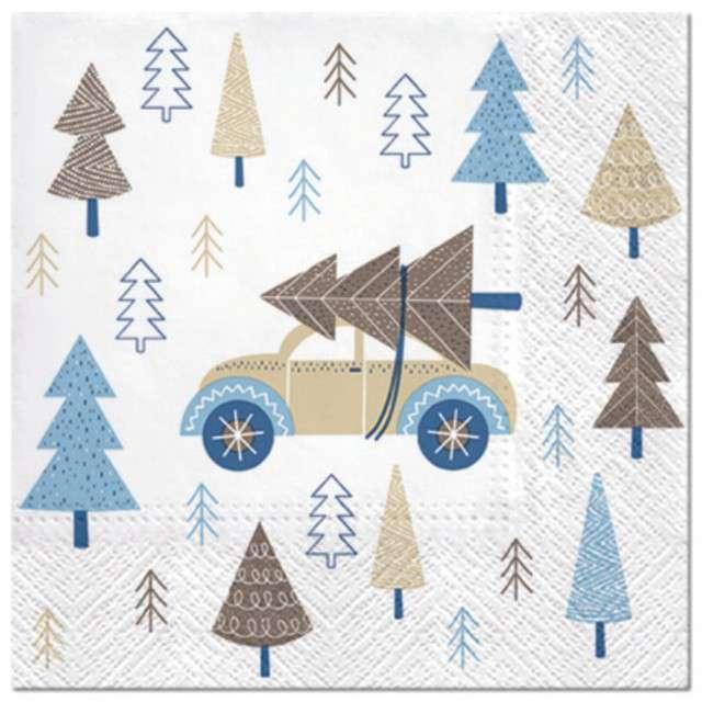 """Serwetki """"Świąteczny samochód"""", niebieski, PAW, 33 cm, 20 szt"""