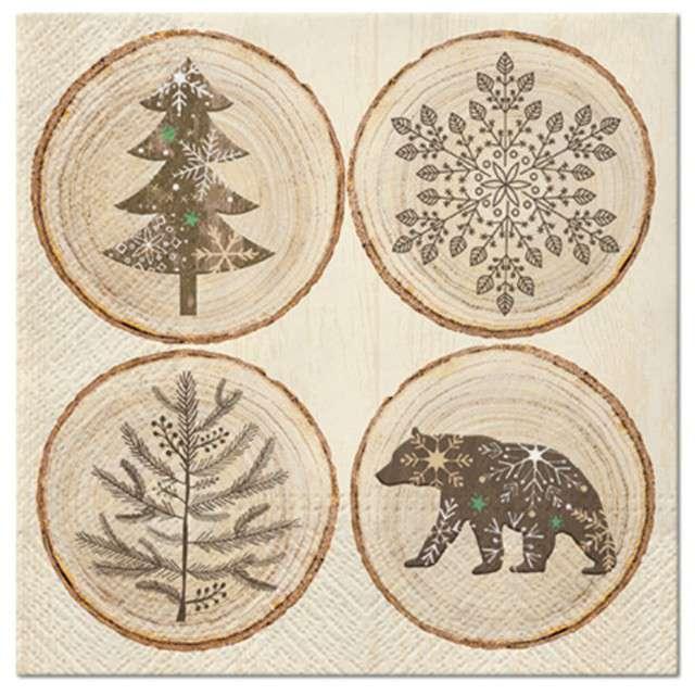 """Serwetki """"Krążki drewniane, świąteczne"""", PAW, 33 cm, 20 szt"""