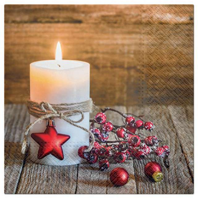 """Serwetki """"Świąteczna świeca"""", PAW, 33 cm,  20 szt"""