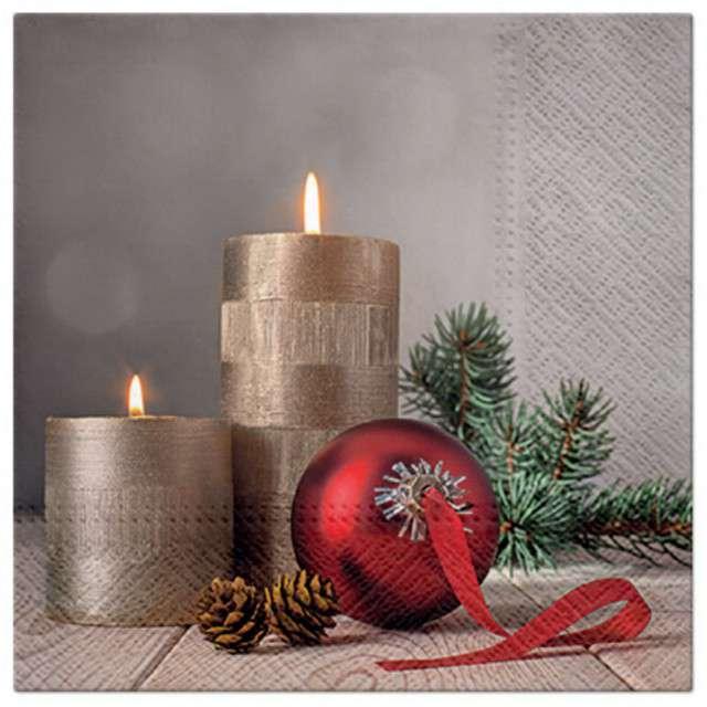 Serwetki Świąteczna dekoracja ze świecą PAW 33 cm 20 szt