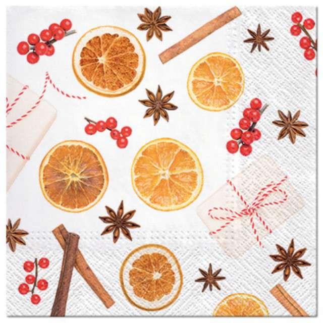 """Serwetki """"Świąteczne owoce"""", PAW, 33 cm, 20 szt"""