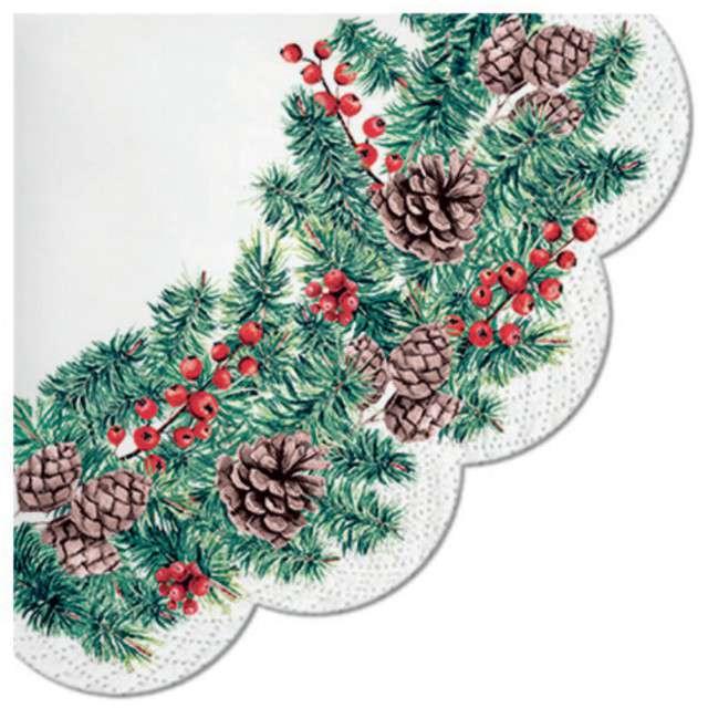 """Serwetki rondo """"Świąteczny wieniec"""", PAW, 32 cm, 12 szt"""