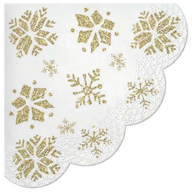 """Serwetki rondo """"Złote płatki śniegu"""", Paw, 32 cm, 12 szt,"""